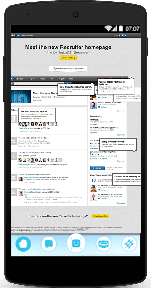 LinkedIn Recruiter Homepage Tour